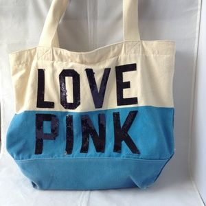 LOVE PINK Large Canvas Tote Bag Sequence